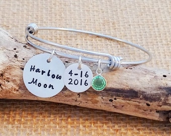 Personalized bangle bracelet, Mom bangle, Expandible bangle, custom bracelet, Mother's Day gift