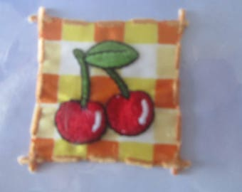 stickers - for clothing embellishment - depicting embroidered cherries
