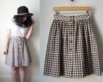 Vintage 1970s Brown Gingham High Waisted Skirt XSmall