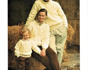 Aran Sweater for Men, Women, Boys and Girls, Vintage Knitting Pattern, PDF, Digital Download
