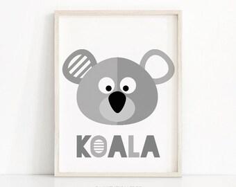 Printable Nursery Art, Animal Nursery Print, Kids Wall Art Print, Koala Baby Wall Art, Gray Nursery Decor, Kids Print, Baby Animal Art Print