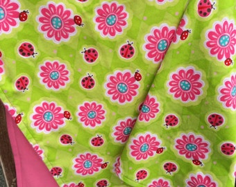 Flannel Baby Blanket / Kid Car Blanket - Ladybugs Ladybirds and Flowers, Personalization Available