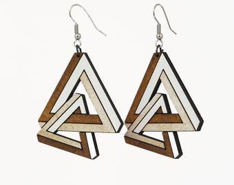 Laser cut wooden earrings, 3D geometric infinite triangle