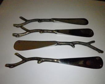 BRASS Branch Handle Butter Knives gold tone Lot of 4