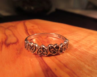 Retro Sterling Silver Marcasite Heart Ring - 8.5