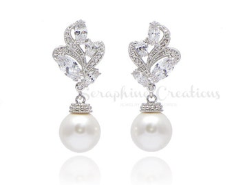 Wedding Pearl Earrings Bridal Pearl Earrings Swarovski Pearls Cubic Zirconia Wedding Earrings Ornamental Wedding Jewelry Eliana Classic K150