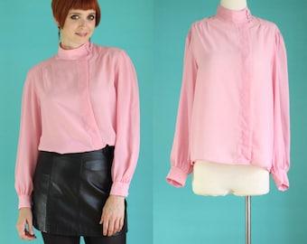 Vintage 80s Secretary Blouse - Pastel Pink Blouse - Sheer Blouse - High Neck Blouse - Asymmetrical Blouse - Pleated Blouse - Size Medium