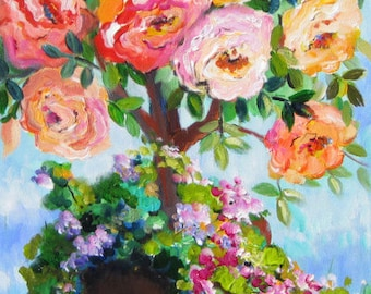 Rose Tree Original Painting Wall art canvas painting gift for her home decor original oil painting   15 x 30 Art by Elaine Cory