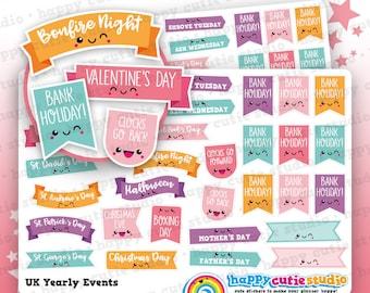 28 Cute UK Yearly Events/Holidays/Calendar/Bank Holidays Planner Stickers, Filofax, Erin Condren, Happy Planner,  Kawaii, Cute Sticker, UK