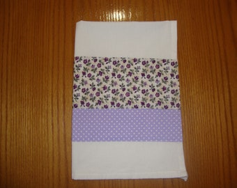 Cotton Tea Towel, Purple Kitchen Towel, Purple Dish Towel, Flower Dish Towel, Flower Tea Towel, Purple Cotton Towel, Mothers' Day Gift