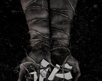 Bound and Broken FREE SHIPPING Surreal Photography Print Dark Art Dirty Arms Hands holding mirrors Wrapped twine Creepy Wall Decor Goth
