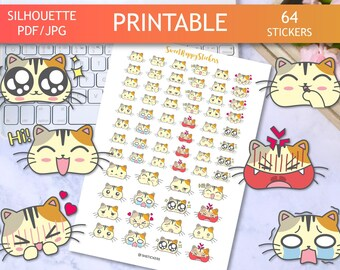 BIG SALE, Printable Stickers, Cat stickers, Emoji stickers, Kawaii Stickers, emoji planner stickers for erin condren planner, emotion