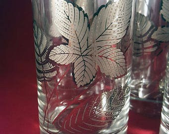 6 Libbey Tumblers with Skeleton Silver Leaf Pattern