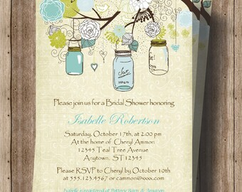 BRIDAL SHOWER INVITATION Teal / Turquiose Bridal Shower Invitation Rustic Mason Jars / Beautiful Turquoise Bridal Shower / Teal Shabby Chic