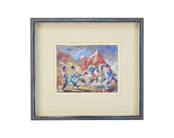 """John Cadel """"The Parade"""" Whimsical Gouache Painting Soldiers Marching"""