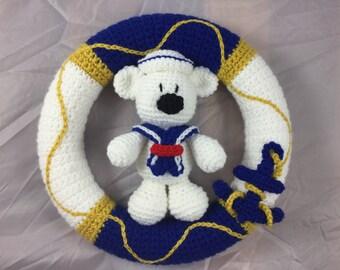 Nautical Wreath with Anchor and Teddybear dressed in a sailor suit crochet pattern - amigurumi tutorial - Beach Decor - Nautical Nursery