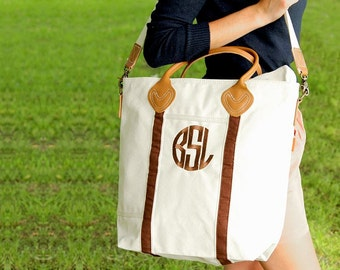 Monogrammed Travel Tote, Carry On Bag, Personalized Flight Bag, Monogrammed Canvas Bag, Bridal Gift, Zippered Top