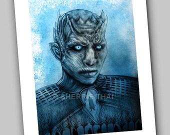 Game of Thrones Whitewalker Night King Portrait, Undead Zombie Horror Design, Art Print, Sale