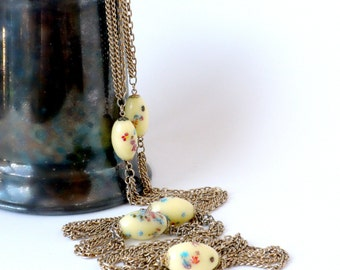Extra Long Necklace, Pastel Yellow Necklace, Long Layered Necklace, Long Chain Necklace, 60 Inch Necklace,