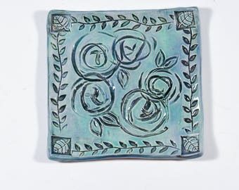 Blue Ceramic Tray - Ring Dish - Spoon Rest - Roses