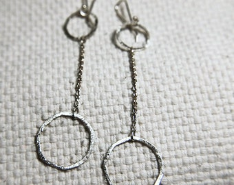 Circle Dangle Studs, Hoop Studs Earrings, Circle Earrings in  Sterling Silver 935 in a kraft gift box with an Extra Free Gift.