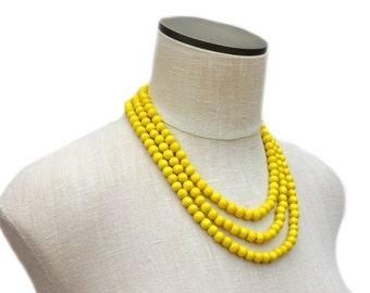 yellow necklace / yellow beaded necklace / yellow statement necklace / multi strand necklace / yellow bridesmaid necklace / yellow jewelry