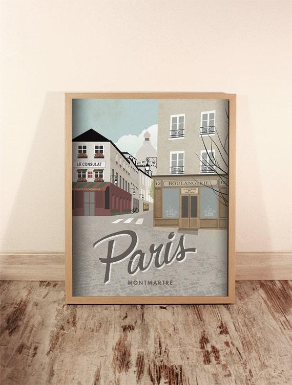 Paris. Montmartre. France. Póster. Art. Digital print. Illustration. Trip. Cities. Wall art decoration. 15.7 x 19.79  inches