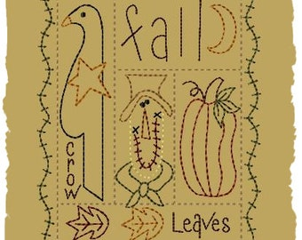 Primitive Machine Embroidery Design-Fall Sampler--Version 2--(5x7)-INSTANT DOWNLOAD