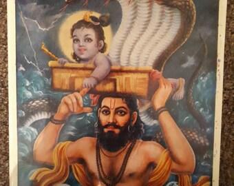 Hindu god baby Krishna and vasudev