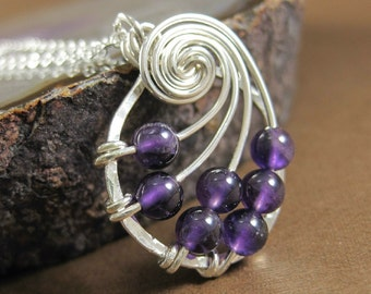 Amethyst Fibonacci Nautilus Necklace Math Jewelry Birthstone Jewelry Sterling Silver Wire Wrapped Necklace