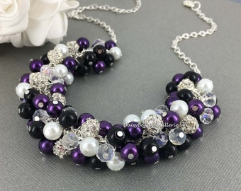 Bridesmaid Jewelry Black Purple White Cluster Necklace Purple and Black Necklace Bridal Necklace Pearl Jewelry