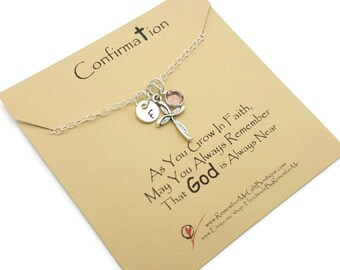 Confirmation Gift, Confirmation Necklace, Personalized Gift Idea for First Holy Communion, Goddaughter Gift, Catholic Jewelry with Cross