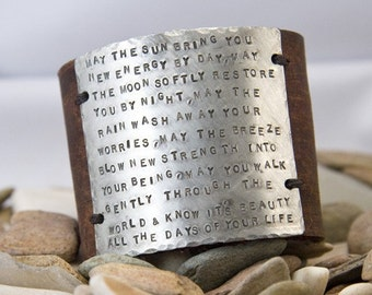 Leather Cuff 2 inch, will fit large amount of text, custom