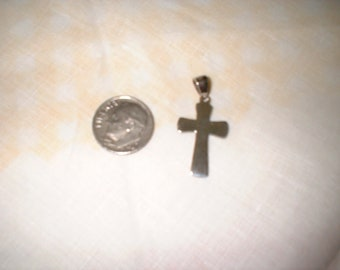 Small Sterling Silver Christian Cross Pendant with Bail