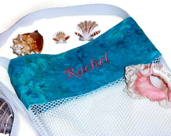 Mesh Sea Shell Beachcomber Bag, Turquoise Shell Collector Bag, Personalized Gift For Girls & Women, Embroidered Name, Beach Tote