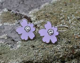 Silver enamel lilac flower earrings, kinetic sculpture