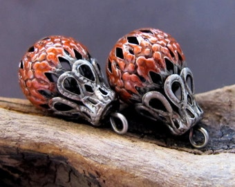 Scarlet Orange Hollow Metal Beads. Enamel Filigree Beads. Charms Dangle Beads. Handmade Earrings Supplies 2 Charms for Earrings