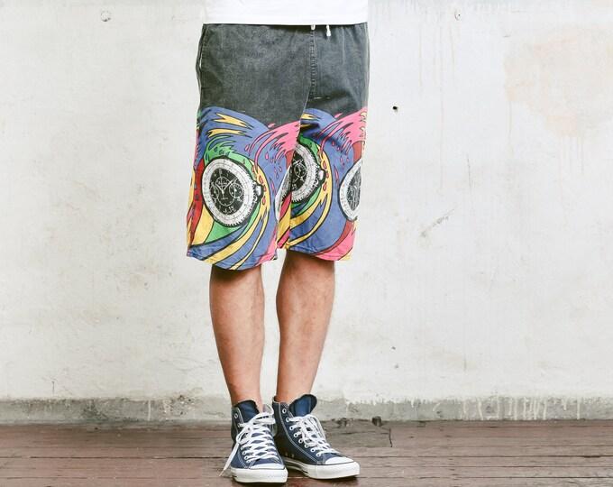 Men 90 Summer Shorts . 90s Surfer Shorts Vintage Beach Shorts Board Shorts Colorblock Shorts Pants Swim Trunks Holiday Short . size Large L