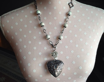 """Puffy Heart; Beaded Necklace; Thrifted Jewelry; Assemblage Jewelry; """"Wild Heart"""""""