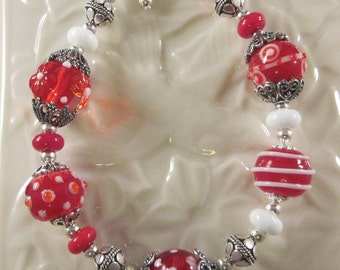 "Sterling Silver Bracelet - ""Valentine's Delight, Red & White""  - Artisan Lampwork Glass, Hand Crafted, Silver, Crystals, Unique, OOAK, SRAJD"