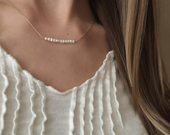 Gold Pearl Bar Necklace, Delicate Gold Pearl Necklace, Gold Filled, Bridesmaid Gifts, Gold and Pearl Necklace, Gold Layering Necklace,  SGC1