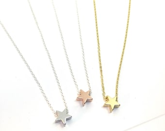 Star Layering Necklace - gold, silver, rose gold