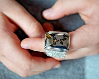Real Meteorite Pallasite Seymchan Silver Men's Ring Rare Gift For Him Gift from Space One-of-a-kind gift