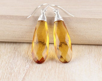 Citrine Quartz & Sterling Silver Earrings. Large Gemstone Earrings. Long Drop Earrings. Wire Wrapped Dangle Earrings. Bead Earrings. Jewelry