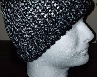 Black and white messy bun ponytail hat