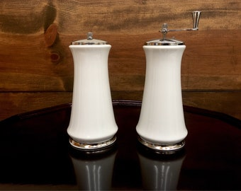 Lenox Salt Shaker & Pepper Mill Set in White Bone China Echo by Oxford (Div of Lenox) 1975 - 1988 Made in USA