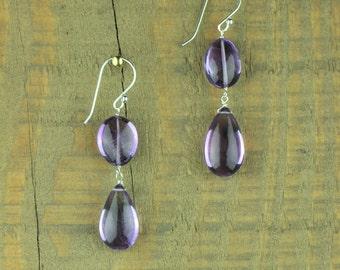 Smooth Polished Purple Amethyst Teardrop Earrings in Silver