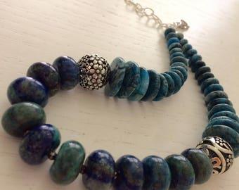 Blue rondelle necklace