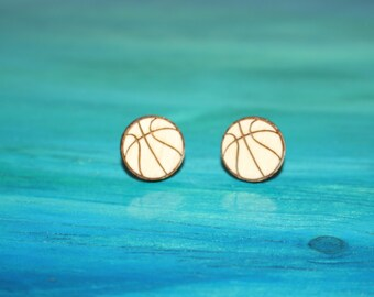 Wooden Basketball Earrings