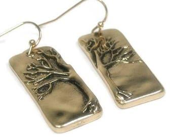 Sale| Tree of Life Jewelry, Symbolic Stamped Tree Earrings, Gold Metal Tree of Life Dangle Earrings, Rectangle, Family Tree, Minimalist, Yin